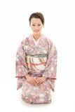 Asian kimono woman sit Royalty Free Stock Photos