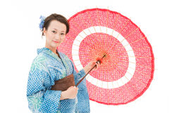 Asian kimono woman with white background Stock Images