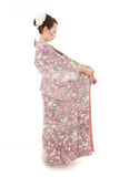 Asian kimono woman with white background Stock Photos