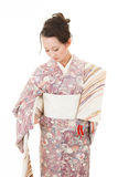 Asian kimono woman with white background Royalty Free Stock Photography
