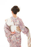 Asian kimono woman with white background Royalty Free Stock Image