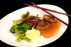 Asian Kobe beef dinner with vegatables and gravy Stock Photo