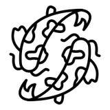 Asian koi carp icon, outline style