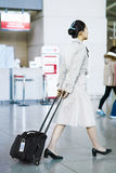 Asian Korean air flight attendant at Incheon International airpo Royalty Free Stock Photography