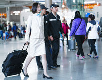 Asian Korean air flight attendant in International airport of In. Incheon, South Korea - February 15, 2016: Asian Korean female air flight attendant in Stock Photo