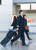 Asian Korean air flight steward at the Incheon International air Stock Photography