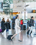 Asian Korean air flight stewardess at International airport of I Royalty Free Stock Photos