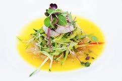 Asian korean fusion fresh prawn salad. Korean fusion fresh prawn salad royalty free stock image