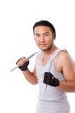 Asian Kung Fu man with chainsticks or nunchaku Royalty Free Stock Photos