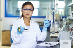 Asian Laboratory scientist working at lab with test tubes. One Female Chinese Laboratory scientist working at lab with test tubes Royalty Free Stock Image