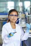 Asian Laboratory scientist working at lab with test tubes. One Female Chinese Laboratory scientist working at lab with test tubes Stock Images