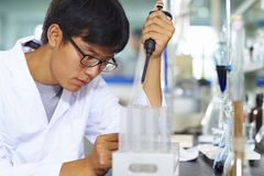 Asian Laboratory scientist working at lab with test tubes. One male Chinese Laboratory scientist working at lab with test tubes Stock Images