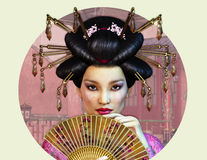 Asian Lady. A Portrait of a young Asian Woman with traditional Hairstyle Stock Images