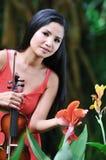 Asian Lady at the Botanic Gardens Stock Images
