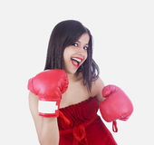 Asian lady boxer Royalty Free Stock Image