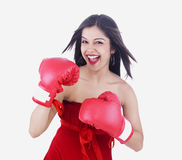 Asian lady boxer Royalty Free Stock Photography