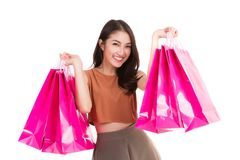 Asian lady carry a shopping bag Royalty Free Stock Photo