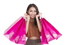Asian lady carry a shopping bag Royalty Free Stock Photography