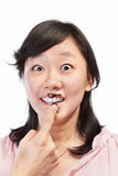 Asian lady and chocolate Stock Photography