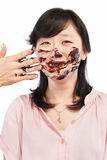 Asian lady and chocolate Stock Photos