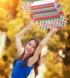 Asian lady enjoy shopping Stock Photos