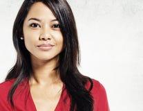 Asian Lady Portrait Concrete Wall Background Concept Stock Photography