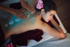 Asian lady relax in skin care aroma therapy Stock Photo