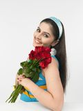 Asian lady with roses Stock Images