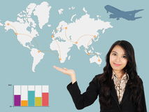 Asian lady shows the development of the world Stock Images