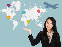 Asian lady shows the development of the world Stock Image