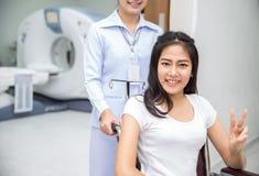 Asian lady sit on wheelshair stock photos