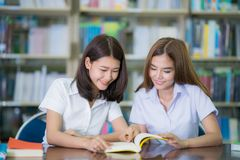 Asian lady student study and do home work in library in University stock photos