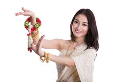 Asian lady in Thai dress costume Royalty Free Stock Image