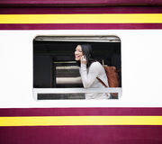 Asian Lady Traveling Commute Train Concept Stock Photos