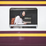 Asian Lady Traveling Commute Train Concept Royalty Free Stock Photos