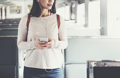 Asian Lady Traveling Commute Train Concept Royalty Free Stock Photo