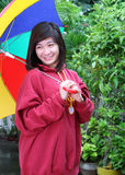 Asian lady with umbrella Royalty Free Stock Photo