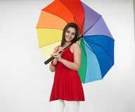 Asian lady with an umbrella Stock Photos