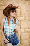 Asian lady wear blue plaid shirt Royalty Free Stock Photos