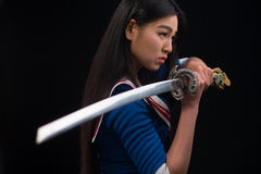 Free Asian Lady With Sword In Studio Royalty Free Stock Photos - 82851158