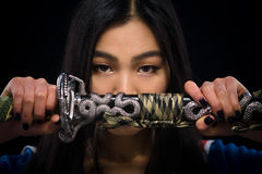 Free Asian Lady With Sword In Studio Royalty Free Stock Images - 82851249