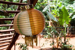 Asian lamp in the forest. A spherical lamp in a green forest. Wooden stairs on the left Stock Photography