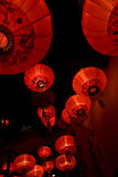 Asian lamps. Lots of red asian lamps going up Stock Photo