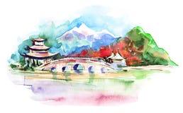 Asian landscape. And architecture (Uma painting royalty free illustration