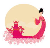 Asian Landscape and beautiful geisha. Abstract Asian Landscape and beautiful geisha Stock Photography