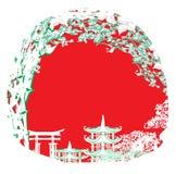Asian Landscape card. Vector Illustration Stock Photography