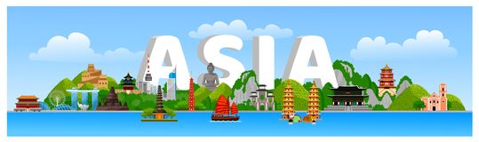 Asian landscape with temples, churches, towers, landmarks, attractions, jeepney, tricycle, boats. Skyline city and mountains with green trees. Flat cartoon royalty free illustration