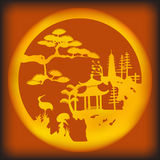 Asian landscape. Vector illustration of Asian landscape Royalty Free Stock Photos