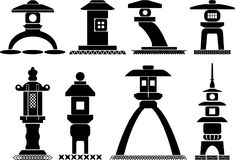 Asian lantern icons vector illustration