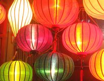 Asian lanterns. Colourful lanterns on a market in Vietnam, Asia Royalty Free Stock Photos